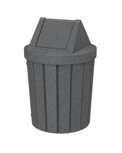 42 Gallon Dark Granite Slatted Trash Receptacle, Swing Top Lid
