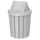 42 Gallon Light Granite Slatted Trash Receptacle, Swing Top Lid
