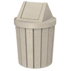 42 Gallon Beige Granite Slatted Trash Receptacle, Swing Top Lid