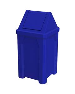 32 Gallon Blue Square Trash Receptacle, Swing Top Lid