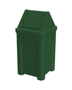 32 Gallon Green Square Trash Receptacle, Swing Top Lid