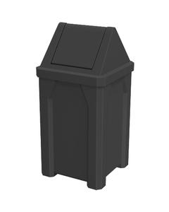 32 Gallon Black Square Trash Receptacle, Swing Top Lid