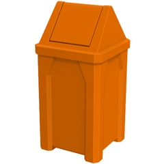 32 Gallon Orange Square Trash Receptacle, Swing Top Lid