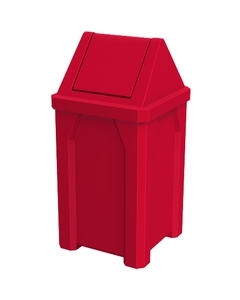 32 Gallon Red Square Trash Receptacle, Swing Top Lid