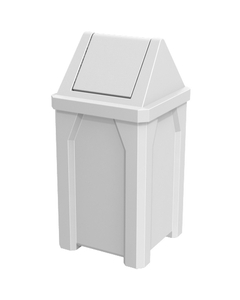 32 Gallon White Square Trash Receptacle, Swing Top Lid