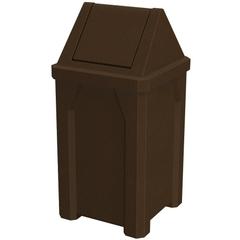 32 Gallon Brown Granite Square Trash Receptacle, Swing Top Lid