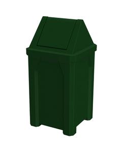 32 Gallon Green Granite Square Trash Receptacle, Swing Top Lid