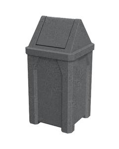 32 Gallon Dark Granite Square Trash Receptacle, Swing Top Lid