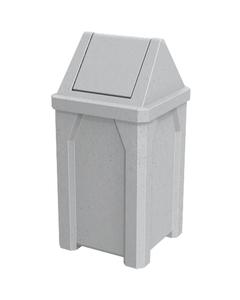 32 Gallon Light Granite Square Trash Receptacle, Swing Top Lid