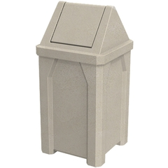 32 Gallon Beige Granite Square Trash Receptacle, Swing Top Lid