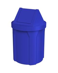 42 Gallon Blue Trash Receptacle, Swing Top Lid