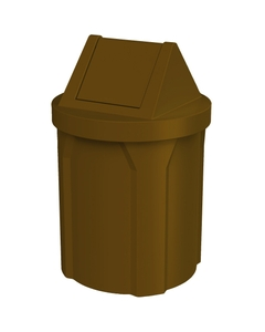 42 Gallon Brown Trash Receptacle, Swing Top Lid