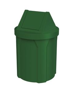42 Gallon Green Trash Receptacle, Swing Top Lid