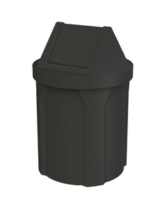 42 Gallon Black Trash Receptacle, Swing Top Lid