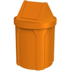 42 Gallon Orange Trash Receptacle, Swing Top Lid
