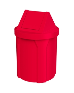 42 Gallon Red Trash Receptacle, Swing Top Lid