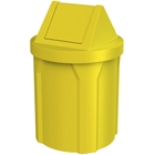 42 Gallon Yellow Trash Receptacle, Swing Top Lid