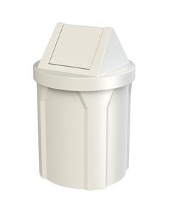 42 Gallon White Trash Receptacle, Swing Top Lid