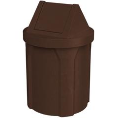 42 Gallon Brown Granite Trash Receptacle, Swing Top Lid