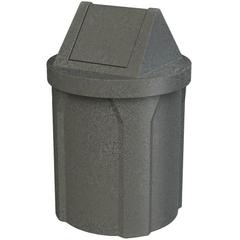 42 Gallon Dark Granite Trash Receptacle, Swing Top Lid