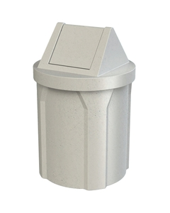42 Gallon Light Granite Trash Receptacle, Swing Top Lid