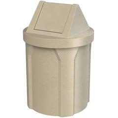 42 Gallon Beige Granite Trash Receptacle, Swing Top Lid