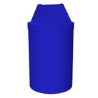 55 Gallon Blue Trash Receptacle, Swing Top Lid