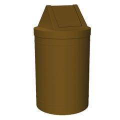 5 Gallon Brown Trash Receptacle, Swing Top Lid
