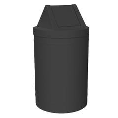 55 Gallon Black Trash Receptacle, Swing Top Lid