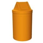 55 Gallon Orange Trash Receptacle, Swing Top Lid