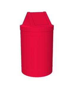 55 Gallon Red Trash Receptacle, Swing Top Lid
