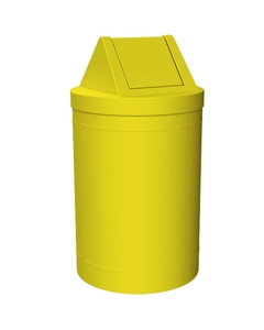 55 Gallon Yellow Trash Receptacle, Swing Top Lid
