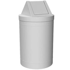 55 Gallon White Trash Receptacle, Swing Top Lid