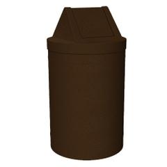 55 Gallon Brown Granite Trash Receptacle, Swing Top Lid