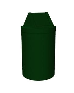 55 Gallon Green Granite Trash Receptacle, Swing Top Lid