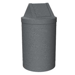 55 Gallon Dark Granite Trash Receptacle, Swing Top Lid