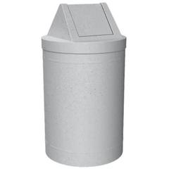 55 Gallon Light Granite Trash Receptacle, Swing Top Lid
