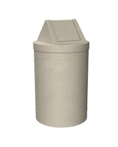 55 Gallon Beige Granite Trash Receptacle, Swing Top Lid