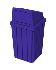 32 Gallon Blue Slatted Square Trash Receptacle, Dome Top Lid