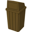 32 Gallon Brown Slatted Square Trash Receptacle, Dome Top Lid