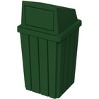 32 Gallon Green Slatted Square Trash Receptacle, Dome Top Lid