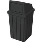 32 Gallon Black Slatted Square Trash Receptacle, Dome Top Lid