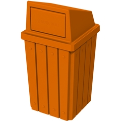 32 Gallon Orange Slatted Square Trash Receptacle, Dome Top Lid
