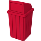 32 Gallon Red Slatted Square Trash Receptacle, Dome Top Lid