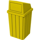 32 Gallon Yellow Slatted Square Trash Receptacle, Dome Top Lid