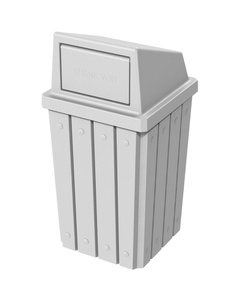 32 Gallon White Slatted Square Trash Receptacle, Dome Top Lid