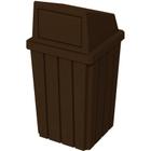 32 Gallon Brown Granite Slatted Square Trash Receptacle, Dome Top Lid