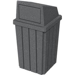 32 Gallon Dark Granite Slatted Square Trash Receptacle, Dome Top Lid