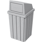 32 Gallon Light Granite Slatted Square Trash Receptacle, Dome Top Lid