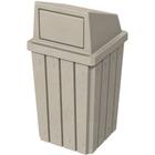 32 Gallon Beige Granite Slatted Square Trash Receptacle, Dome Top Lid